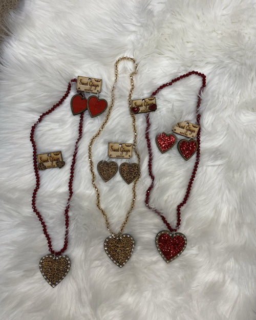 Valentines Necklace-Accessories-Sweet Ginger Jewelry-Glitter Red Heart-Inspired Wings Fashion