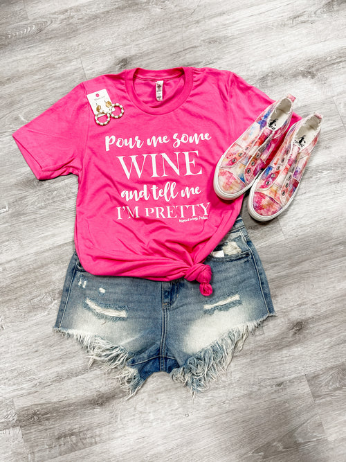 Pour Me A Glass of Wine Shirt-Tops-Inspired Wings Fashion-Small-Pink-Inspired Wings Fashion