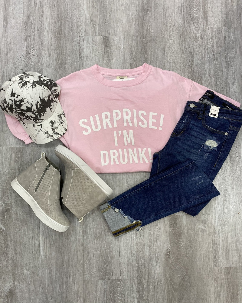 Surprise! I'm Drunk Tee-Top-Spirit Star-Small-Grey-Inspired Wings Fashion