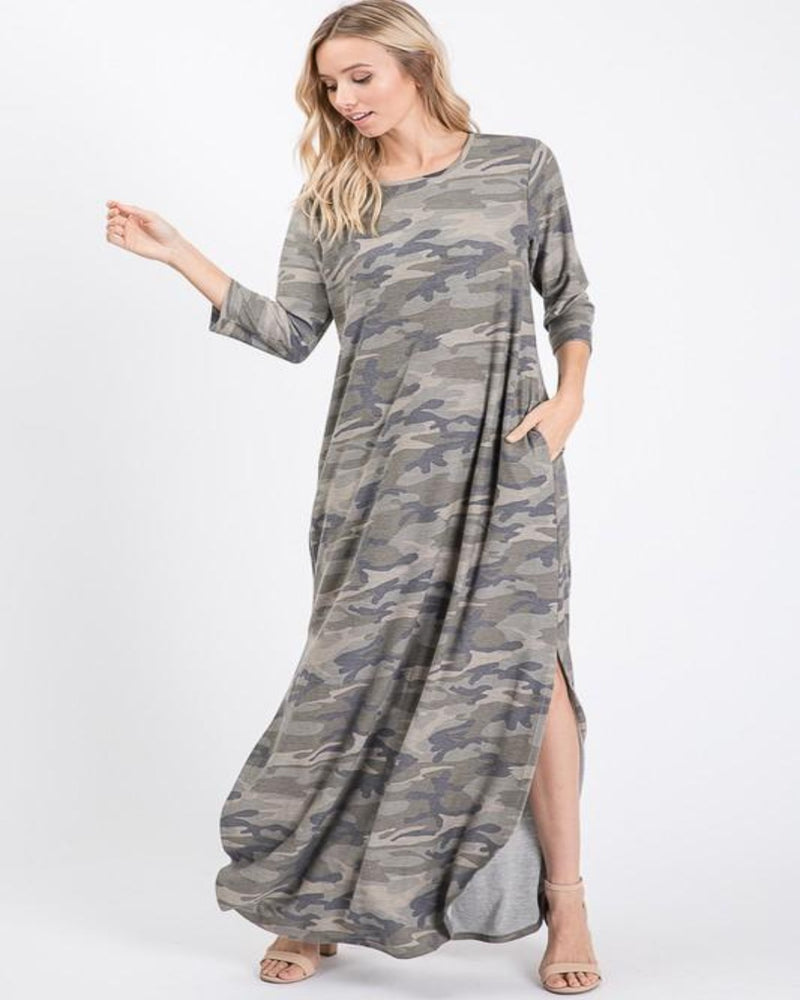 Long Sleeve Camo Maxi Dress-Dresses-Heimish-Small-Inspired Wings Fashion