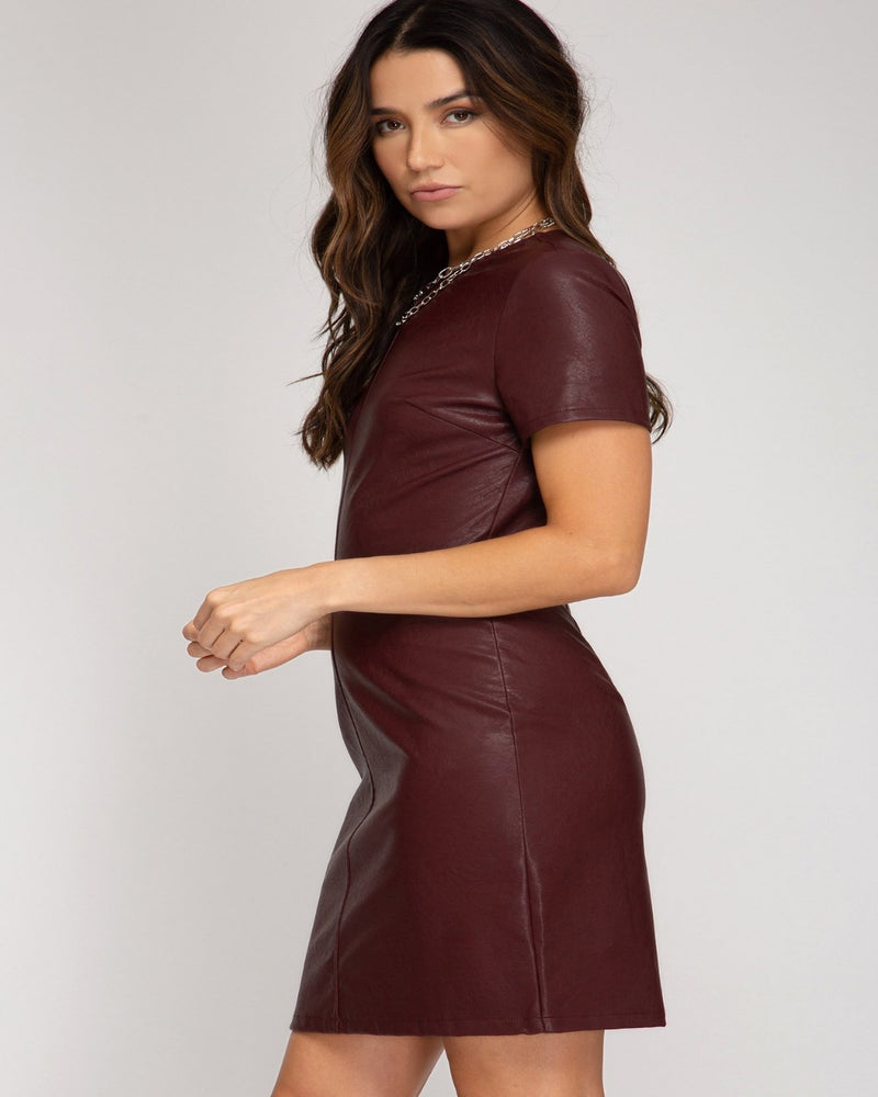 Half Sleeve Faux Leather Dress-Dresses-She+Sky-Small-Black-Inspired Wings Fashion