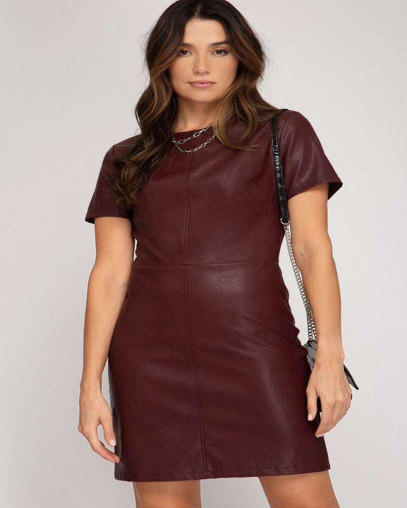 Half Sleeve Faux Leather Dress-Dresses-She+Sky-Small-Wine-Inspired Wings Fashion