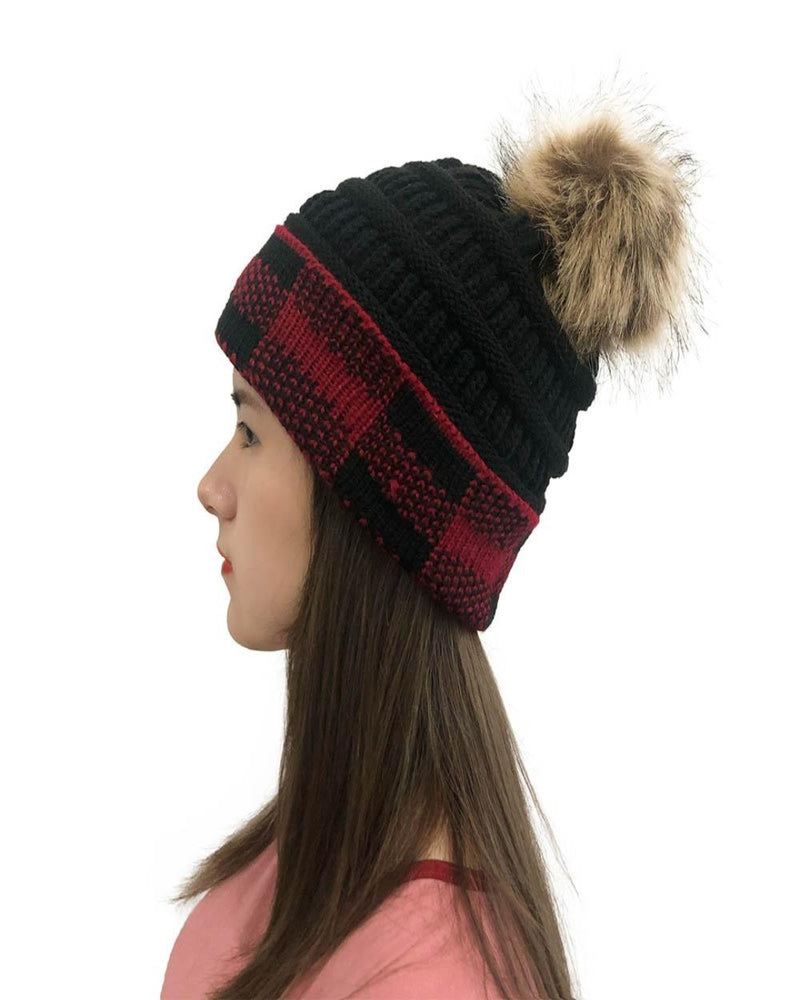 Pompom Plaid Beanie-hat-Alibaba-Inspired Wings Fashion