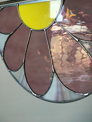 Purple stained glass daisy