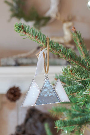 Stained Glass Mountain Ornament for Christmas