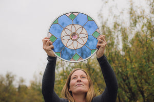 Stained Glass Daisy Mandala Window