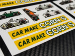 Car Make Corn's - Decal Stickers Sheet - Various Colours
