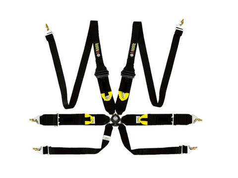 "Racing Harness - 6 Point - 3""/2"" Straps - FIA Approved - HANS Compatible (Black/Red/Blue)"