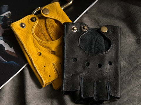 Fingerless Cowhide Driving Gloves (Yellow Or Black)