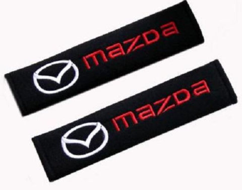 Seatbelt Shoulder Pads with Mazda Logo (Pair) - Black Cotton