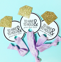 1 Hair Tie on To Have and To Hold Card with Glitter Ring for Bachelorette Favors