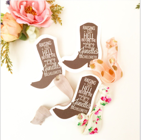 1 Hair Tie on Boot Card, Customized for Bachelorette or Bridal Shower