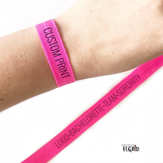 Custom Printed Elastic Hair Ties for Party Favors, Business, Logos, Sorority, Team and more
