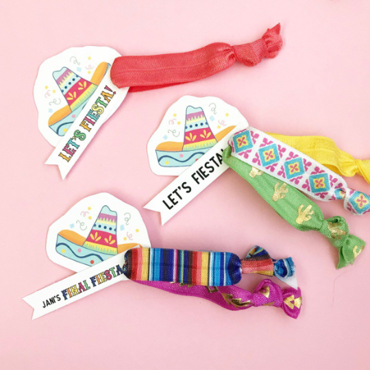 1, 2 or 3 Hair Ties on a Fiesta Hat with Let's Fiesta Tag or Custom Tag Party Favors