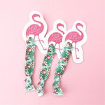 1 Hair Tie on a Pink Flamingo Card with Custom Saying Option