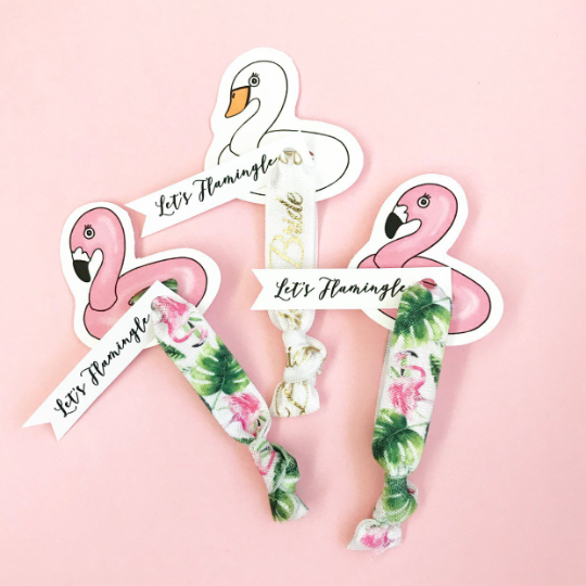 1, 2 or 3 Hair Ties on Flamingo or Swan Pool Floatie Card with Let's Flamingle Tag