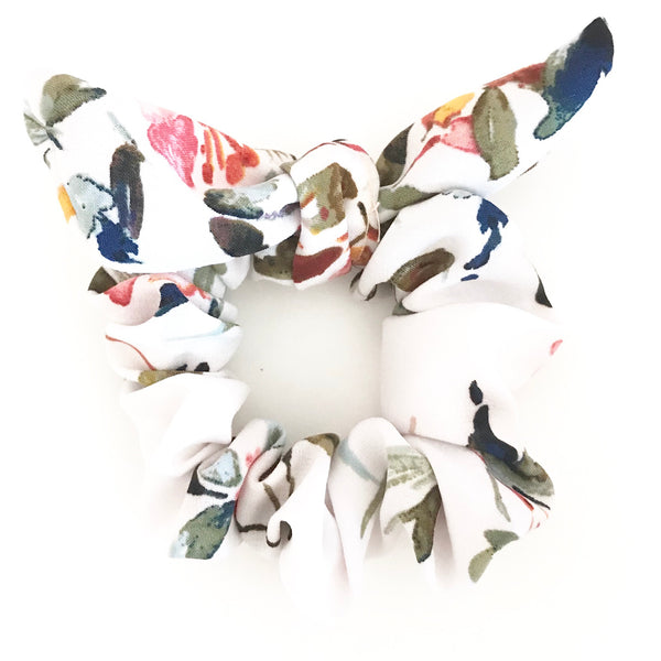 Everyday White Floral Print Hair Scrunchie Tie with Bow