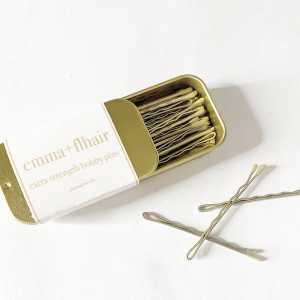 Mini Gold Tin Bobby Pins Extra Strength - Blonde