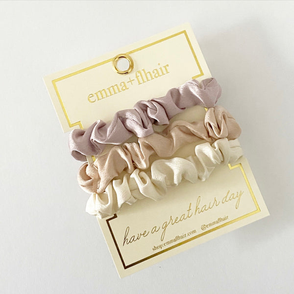 Mini Satin Scrunchies Set of 3 in Vanilla