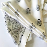 Silky Satin Hair Scarf in Cream, Black and Grey