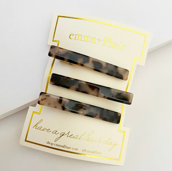 Acetate Tortoise Mini Hair Clips Set of Three in Beige and Black