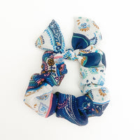 Everyday Blue and White Print Hair Scrunchie Tie with Bow