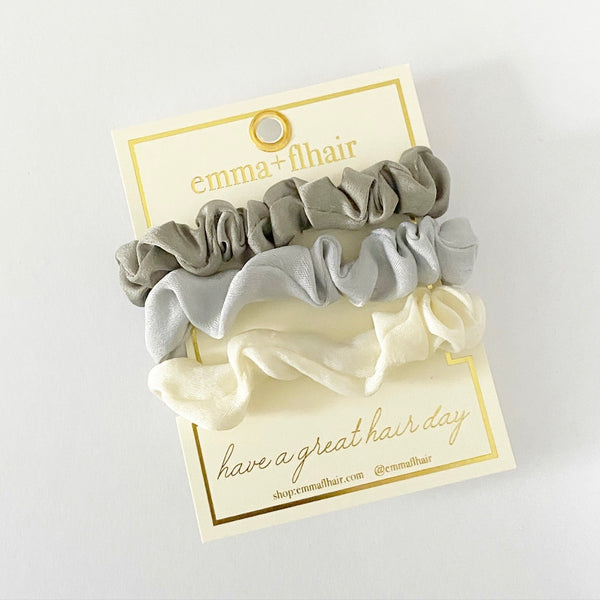 Mini Satin Scrunchies Set of 3 in Starlight