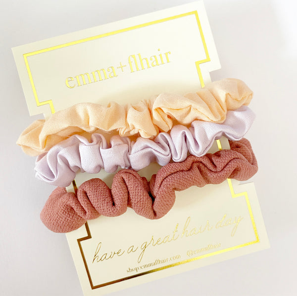 Mini Satin Scrunchies Set of 3 in Peachy Keen
