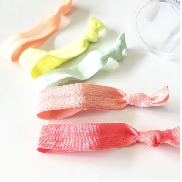Sherbet Hair Tie Set in Clear Storage Container