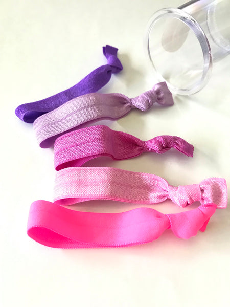 Neon Berry Hair Tie Set in Clear Storage Container