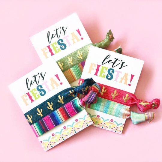 2 Hair Ties on Let's Fiesta Card with Customized Options