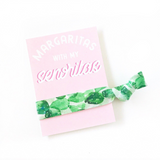 1 or 2 Hair Ties with Margaritas with My Senoritas on Pink Card
