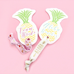 1 Hair Tie Pineapple Aloha Card with Team Bride, Aloha Beaches or Custom