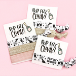1, 2 or 3 Hair Ties on Pop Fizz Clink with Champagne Card