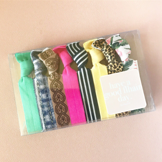 Summer Fun Basics Hair Tie Set of 8 Hair Accessories Knotted Ties Yoga Bands