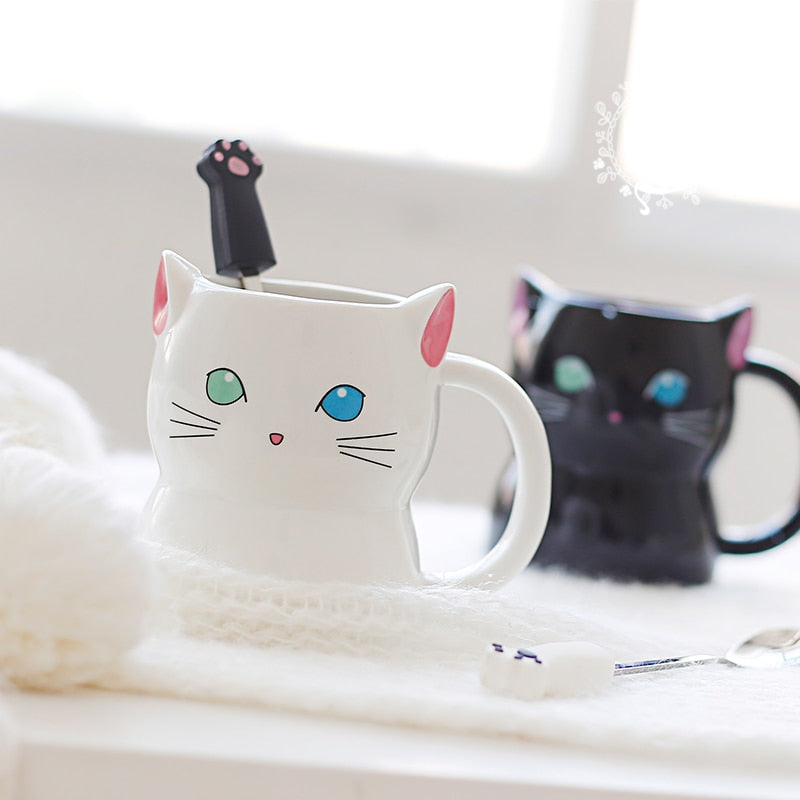 Black White Japanese Style Cat Cup