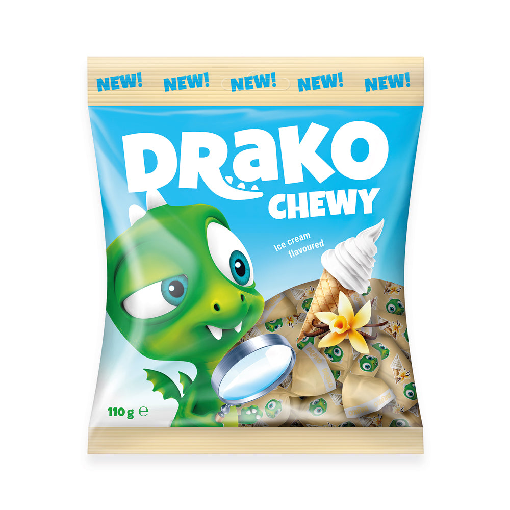 NEW!!!   DRAKO-Dracily ice cream-flavoured chewing candy 110g