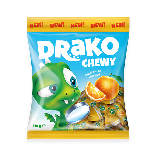 NEW!!!   DRAKO sweet orange-flavoured chewy sweet 110g