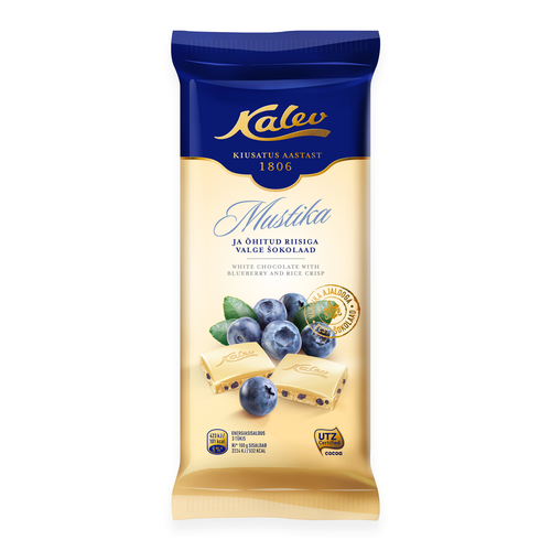 White Chocolate with Rice Crisps and Blueberries 95g