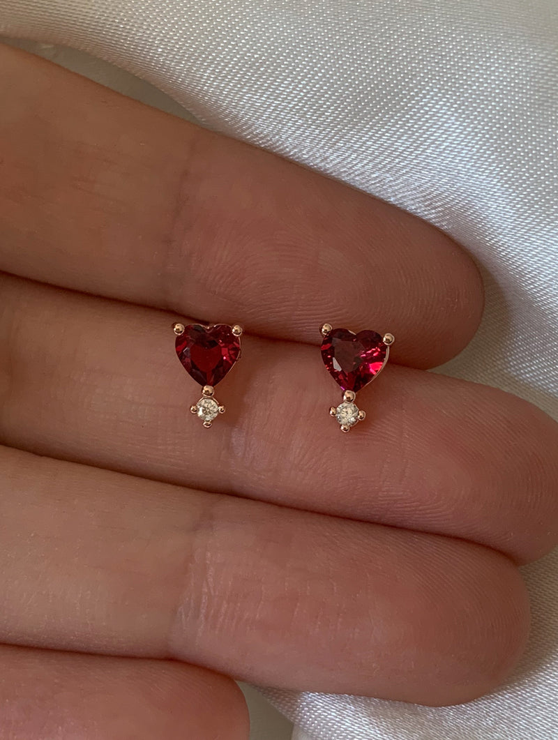 Teeny Tiny Red Heart Studs