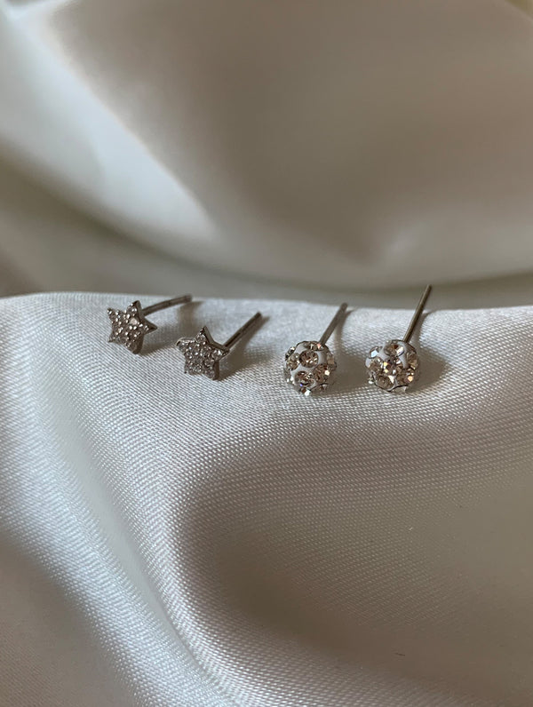 Sterling Silver Star Studs Set