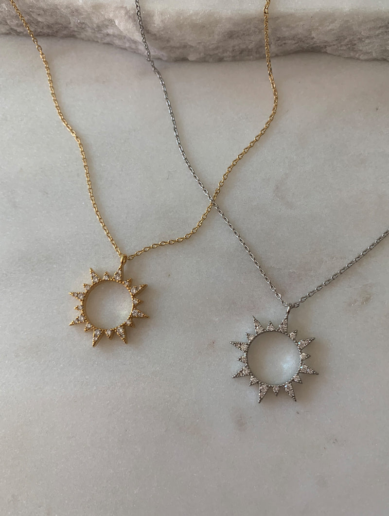 14K Gold Dipped Sun Burst Necklace