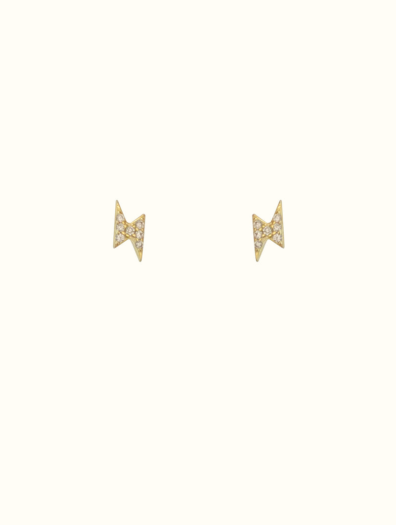 Sterling Silver Tiny Lightning Bolt Studs (diamond)