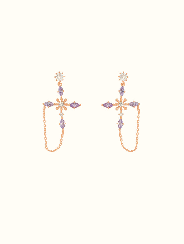 Jewel Encrusted Cross Studs