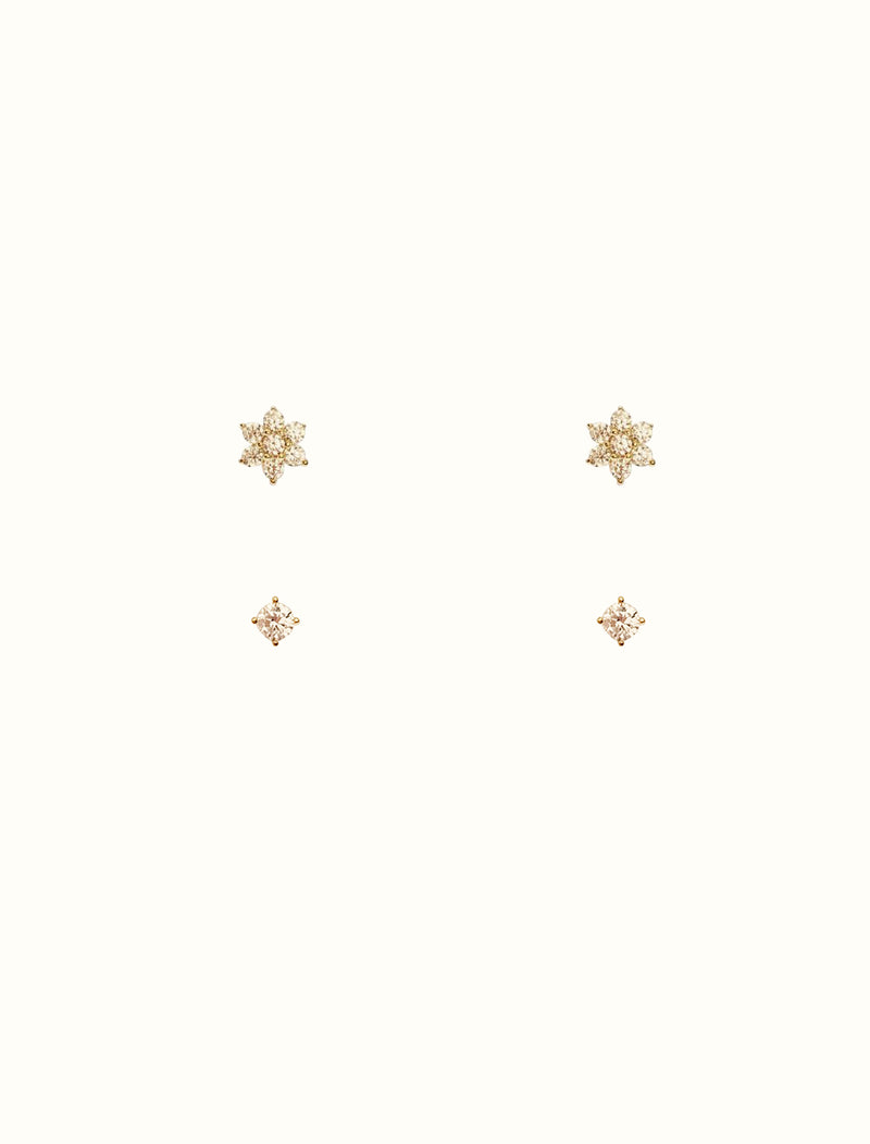 925 Sterling Silver Teeny Tiny Flower Stud Set
