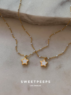 Beaded White Star Necklace