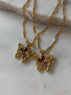 Colorful Diamond Butterfly Necklace (CB)