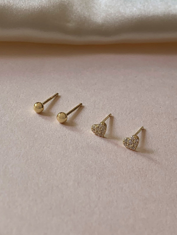 Sterling Silver Heart Stud Set