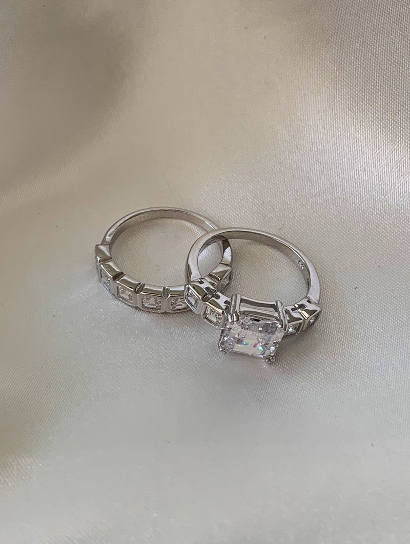 Sterling Silver Diamond Ring Set