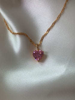 18K Gold Filled Pink Heart Necklace